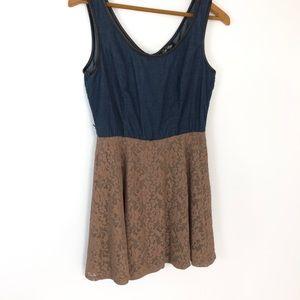 Small denim & lace belted  mini dress
